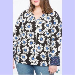 Eloquii Mixed Contrast Print Floral Pajama Top